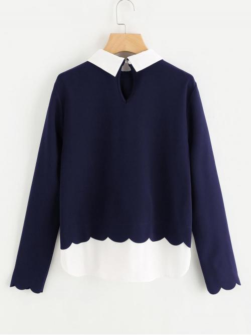 Long Sleeve Top Contrast Collar Polyester Scalloped Trim 2 in 1 Blouse Trending now