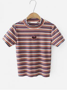 Casual Striped Slim Fit Round Neck Cap Sleeve Multicolor Regular Length Heart Cut Out Striped Ribbed Tee