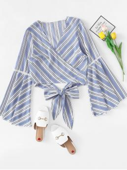 Casual Striped Top Regular Fit V neck Long Sleeve Flounce Sleeve Pullovers Blue Crop Length Knot Front Bell Sleeve Striped Top