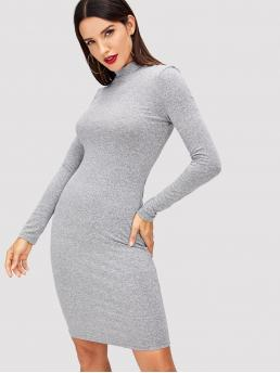 Light Grey Plain Zipper Stand Collar Mock Neck Heathered Knit Dress Cheap