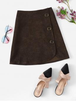 Casual A Line Plain Mid Waist Brown Above Knee/Short Length Button Front Corduroy Skirt