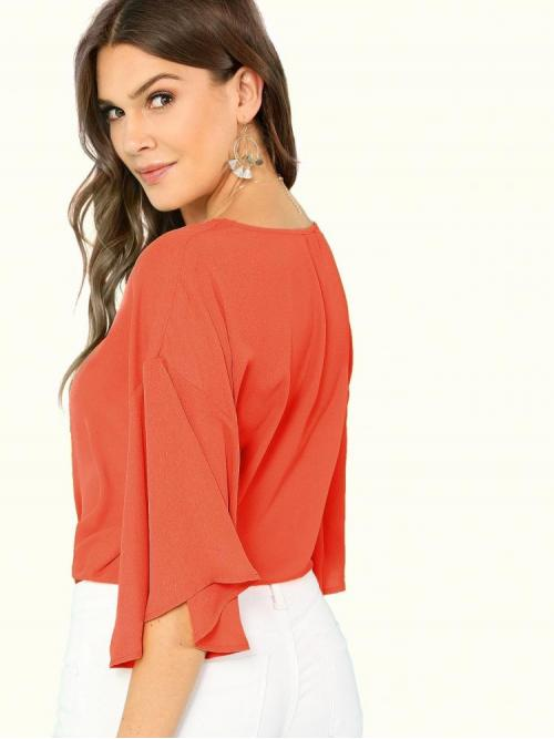 Fashion Half Sleeve Top Knot Polyester Front Top