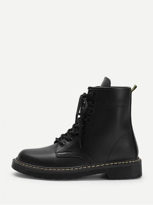 super cute quality outlet boutique Comfort Combat Boots Round Toe Plain No zipper Black Low Heel ...