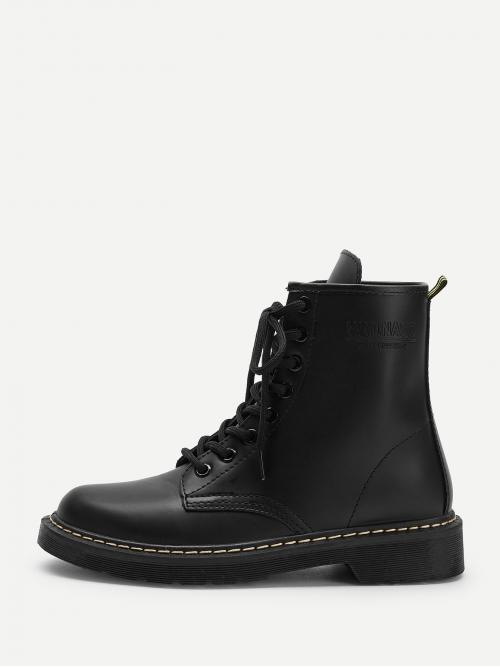 Comfort Combat Boots Round Toe Plain No zipper Black Low Heel Chunky Solid Lace-up Combat Boots
