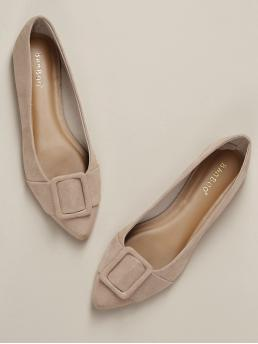 Comfort Point Toe Nude Pointed Toe Buckle Detail Slip On Loafer Flats