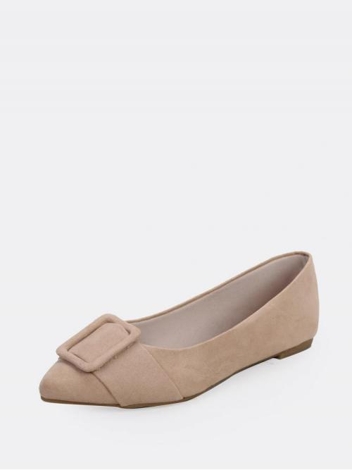 Polyester Khaki Ballet Buckle Pointed Toe Detail Slip on Loafer Flats Cheap