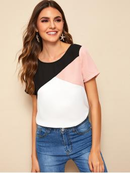 Casual Colorblock Top Regular Fit Round Neck Short Sleeve Regular Sleeve Pullovers Multicolor Regular Length Color Block Short Sleeve Top