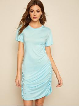 Casual Tee Plain Round Neck Short Sleeve Natural Blue Short Length Ruched Side T-shirt Dress