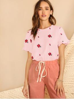 Cute Regular Fit Round Neck Short Sleeve Flounce Sleeve Pullovers Pink Regular Length Ruffle Cuff Floral Embroidered Top