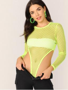 Sexy Tee Plain Skinny Round Neck Long Sleeve Mid Waist Yellow and Bright Neon Yellow High Leg Fishnet Mesh Bodysuit Without Bandeau