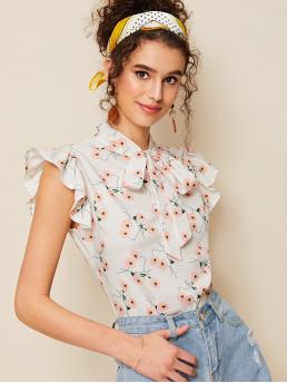 Preppy Floral Top Regular Fit Cap Sleeve Butterfly Sleeve Pullovers White Regular Length Floral Print Tie Neck Blouse