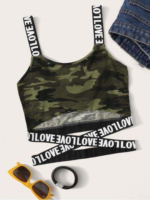 Sporty Tank Letter and Camo Slim Fit Straps Army Green Crop Length Crisscross Letter Print Strap Camo Crop Top