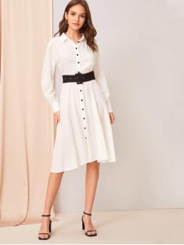 Elegant Shirt Flared Regular Fit Collar Long Sleeve Regular Sleeve Natural White Long Length Gathered Detail Shirt Dress With Buckle Belt with Belt
