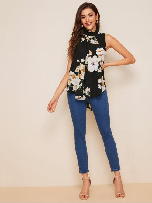 Sleeveless Top Tie Back Polyester Flowy Top Discount
