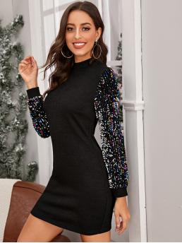 Glamorous Tee Pencil Slim Fit Stand Collar Long Sleeve Regular Sleeve Natural Black Short Length Mock-neck Sequin Sleeve Bodycon Dress