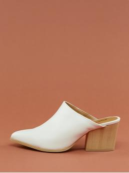 Glamorous Point Toe Plain White High Heel Chunky Pointy Toe Wooden Block Heel Mules