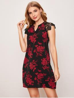 Black Floral Contrast Lace Notched Neck Guipure Lace Shoulder Dress Ladies