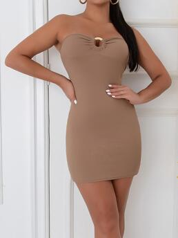 Clearance Mocha Brown Plain Rib-knit Strapless Front Solid Tube Dress