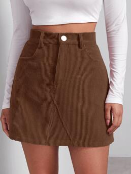 Fashion Coffee Brown High Waist Button Front Straight Buttoned Front Cord Skirt