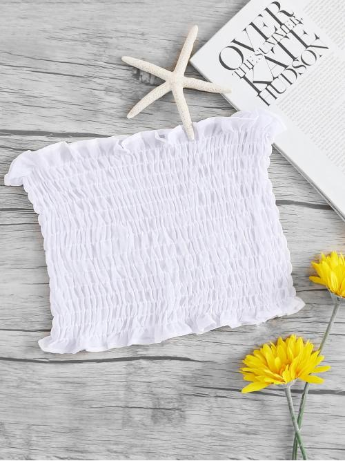 Sleeveless Top Frill Polyester Smocked Ruffledped Tube Top Cheap