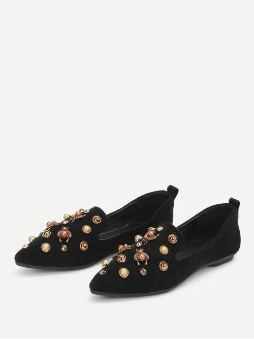 Shopping Corduroy Black Loafers Spiked Faux Pearl Decorated Pointed Toe Flats