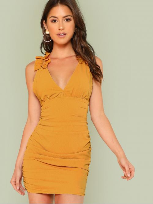 Glamorous Plain Regular Fit Deep V Neck Sleeveless High Waist Yellow Short Length Plunge Neck Ruched Dress with Ruffles MUSTARD with Lining
