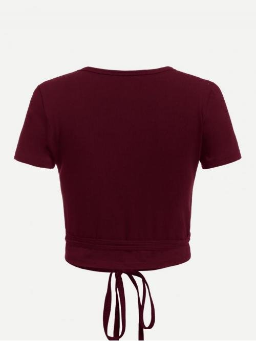 Affordable Short Sleeve Knot Plain Burgundy Self-tieped Wrap Top