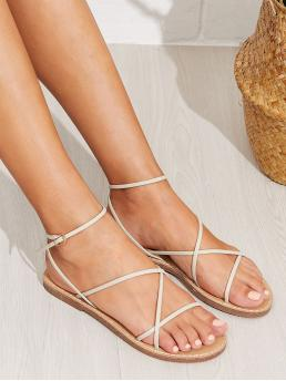 Boho Open Toe Plain Ankle Strap White Skinny Strap Flat Sandals