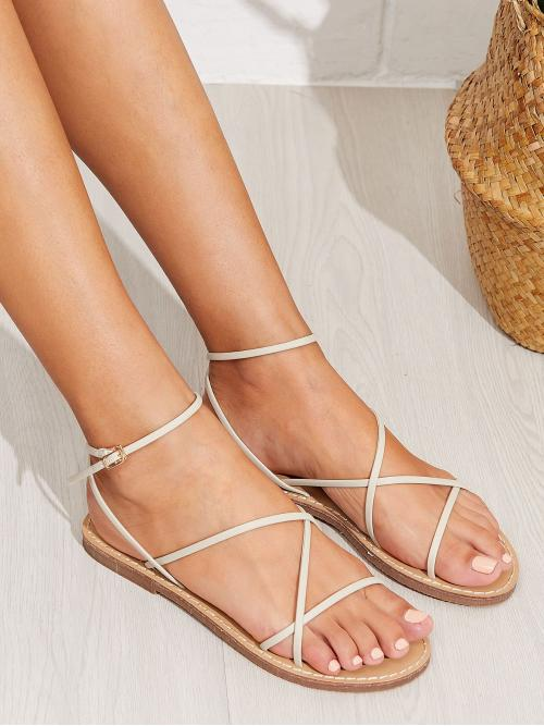 Women's Polyester White Strappy Sandals Bow Skinny Strap Flat Sandals