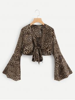 Boho and Sexy Leopard Top Slim Fit V neck Long Sleeve Flounce Sleeve Multicolor Crop Length Knot Front Bell Sleeve Leopard Top