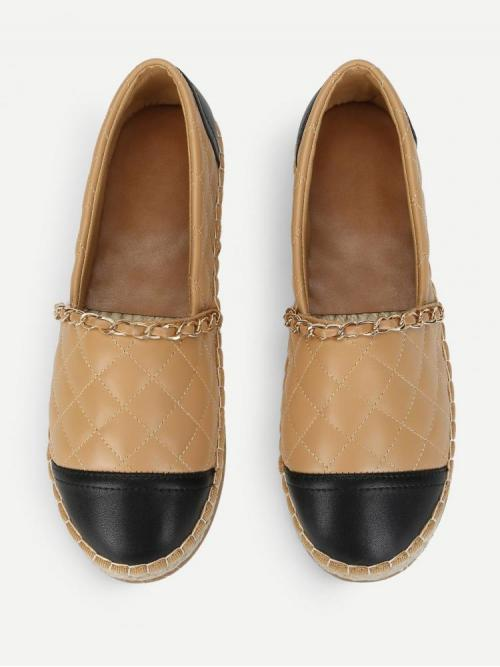 Sale Corduroy Camel Espadrilles Embroidery Chain Decorated Espadrille Flats