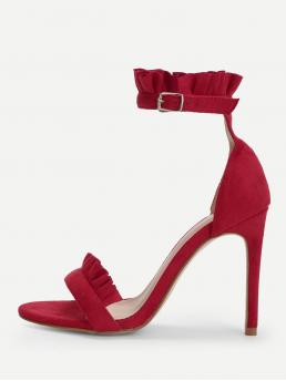 Ankle Strap Open Toe Plain Ankle Strap Burgundy High Heel Stiletto Frill Trim Stiletto Heels