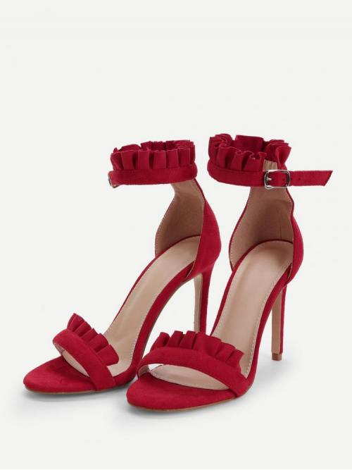 Affordable Cotton Burgundy Strappy Sandals Frill Trim Heels