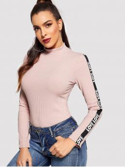 Sporty Regular Fit Stand Collar Long Sleeve Pullovers Pink Regular Length Mock-neck Letter Tape Side Rib-knit Tee