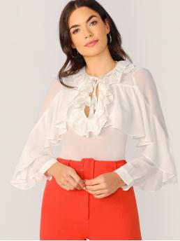 Long Sleeve Top Fringe Polyester Ruffle Neckline and Peasant Top Blouse Cheap