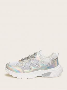Glamorous Round Toe Silver Lace-up Front Iridescent Panel Sneakers