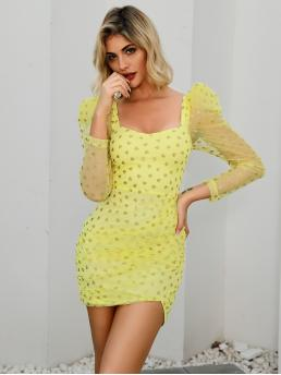 Glamorous Bodycon Heart Wrap Regular Fit Sweetheart Long Sleeve Leg-of-mutton Sleeve High Waist Yellow Short Length Double Crazy Gigot Sleeve Glitter Heart Mesh Overlay Dress with Lining