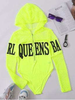 Long Sleeve Tee Zipper Mesh Neon Lime Zip up Graphic Fishnet Panel Bodysuit Clearance