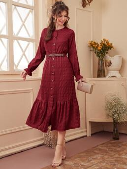 Pretty Burgundy Plain Button Front Round Neck Solid Button up Dress with Belt
