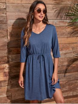 Womens Navy Blue Plain Knot V Neck Solid Tie Front Dress