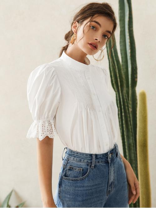 Women's Short Sleeve Shirt Eyelet Embroidery Polyester Solid Pleated Detail Eyelet Embroidered Blouse