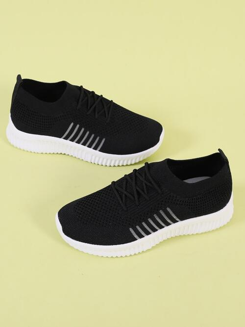 Black Running Shoes Lace up Low-top Decor Knit Running Shoes Cheap