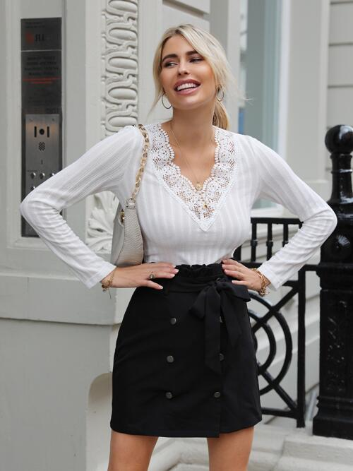 Fashion Long Sleeve Contrast Lace Polyester Plain T-shirt