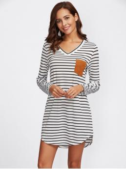 Casual Tee Striped Straight Loose V neck Long Sleeve Black and White Short Length Suede Pocket Curved Hem Striped Tee Dress