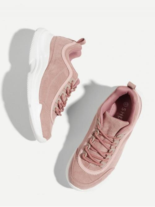 Cheap Corduroy Pink Chunky Trainers Glitter Sneakers