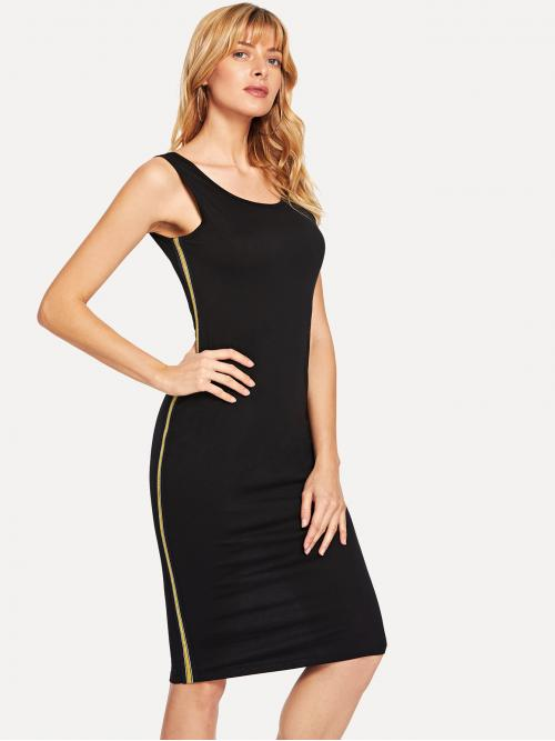 Black Striped Patched Scoop Neck Contrast Tape Side Bodycon Dress Fashion