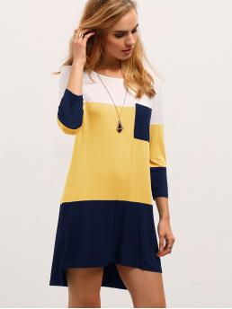 Multicolor Colorblock Pocket Round Neck Color-block T-shirt Dress Sale