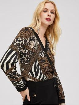 Casual Leopard and Snakeskin Print Wrap Top Regular Fit V neck Long Sleeve Regular Sleeve Pullovers Multicolor Regular Length Animal Scarf Surplice Wrap Knot Top