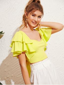 Boho Plain Top Slim Fit Sweetheart Short Sleeve Butterfly Sleeve Pullovers Yellow and Bright Crop Length Neon Yellow Tie Back Ruffle Sleeve Blouse