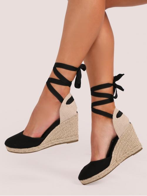 Boho Almond Toe Strappy Black High Heel Espadrille Lace Up Ankle Closed Toe Jute Trim Wedges